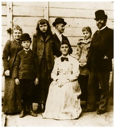 Dvořák with his family and friends in New York in 1893. From left: his wife Anna, son Antonín, Sadie Siebert, (secretary) Josef Jan Kovařík, mother of Sadie Siebert, daughter Otilie, Antonín Dvořák.[70]