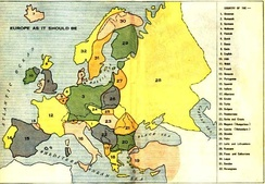 "Louis P. Bénézet's map of ""Europe As It Should Be"" (1918), depicting imagined nations based on ethnic and linguistic criteria. Bénézet's book The World War and What was Behind It (1918) blamed on German aggression combined with perceived threats to the traditional social order from radicals and ethnic nationalists."