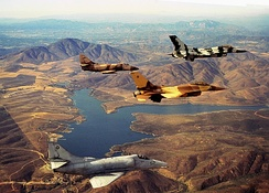 TOPGUN F-16 and A-4 aircraft in formation