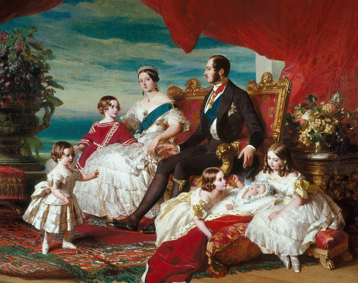 Victoria's family in 1846 by Franz Xaver Winterhalter.Left to right: Prince Alfred and the Prince of Wales; the Queen and Prince Albert; Princesses Alice, Helena and Victoria.