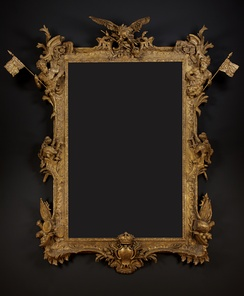 A Royal Giltwood Frame of Colossal Scale by Paul Petit made at the command of Frederick, Prince of Wales to contain a portrait of Frederick the Great by Antoine Pesne (1683–1757). Collection of Carlton Hobbs LLC.