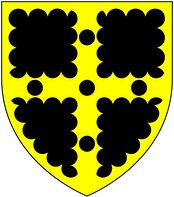 Arms of Greville: Sable, on a cross engrailed or five pellets all within a bordure engrailed of the second