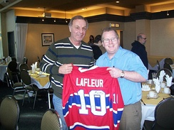 Guy Lafleur and fan in Longueuil, Quebec, Canada on February 2, 2008
