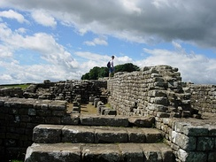 The remains of the southern granary at Housesteads Roman Fort on Hadrian's Wall.