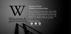 Wikipedia blackout protest against SOPA on January 18, 2012