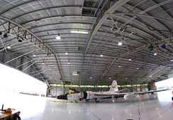 Panorama of Ellington field's hangar 990, with one of the three WB-57Fs inside.