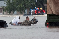 North Carolina National Guard assisting with high-water rescues in Fayetteville, North Carolina