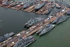 Portsmouth dockyard during the Trafalgar 200 International Fleet Review. Seen here are commissioned ships from; the United Kingdom, the Netherlands, Greece, Pakistan and Nigeria.