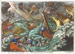 A British cartoon showed the failure of the French military expedition to Ireland dispersed by storms at sea in 1797
