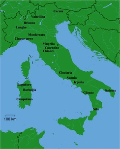 Map of Italy showing the names of a dozen common places.
