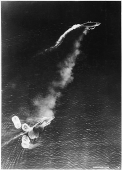 HMS Prince of Wales and HMS Repulse during the air attack.