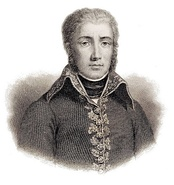 Sepia print of a solemn, clean-shaven man with long sideburns. He wears a simple, dark military uniform of the French Revolutionary era, with no epaulettes and a single row of buttons, with a narrow band of gold embroidery down the front.