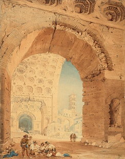 John Goldicutt, View in Rome, 1820. Watercolor over pencil. The Huntington Library, Art Collections, and Botanical Gardens, Gilbert Davis Collection.[3]