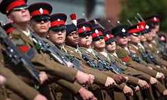 Children from age 16 in the British army, on parade at the Army Foundation College, Harrogate, UK