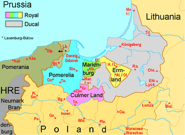 The Pomerelian districts of Lauenburg and Bütow, identified by Lb. and Bt, enfeoffed to the Dukes of Pomerania (as of 1526)