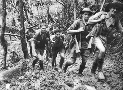 The 39th Australian Infantry Battalion defending the approach to Port Moresby along the Kokoda Track in September 1942. AWM 013288.