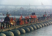 Procession of Akharas marching over the Ganges.