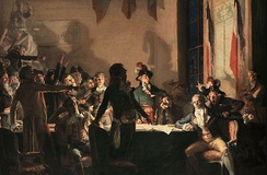 Saint-Just and Robespierre at the Hôtel de Ville on the night of 9 to 10 Thermidor Year II. Painting by Jean-Joseph Weerts