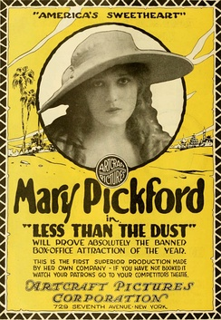 Poster advertising a 1916 film with Mary Pickford, one of the first movie stars