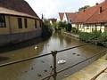 Moat with civic houses bordering on it in Steinfurt