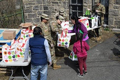 Members of the New York National Guard distribute groceries in New Rochelle on March 18, 2020