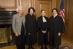 The first four female justices: O'Connor, Sotomayor, Ginsburg, and Kagan.