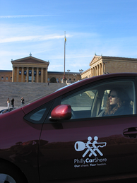PhillyCarShare in front of the Philadelphia Art Museum