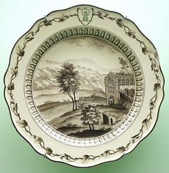 Wedgwood, 1774, creamware. Plate from the Frog Service for Catherine II of Russia, Brooklyn Museum, New York