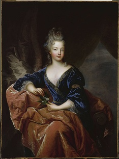 Philippe's wife, the proud Françoise Marie de Bourbon, youngest daughter of Madame de Montespan, by François de Troy.