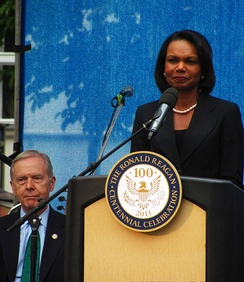 Wilson with Secretary of State Condoleezza Rice in downtown Prague as part of the Ronald Reagan Centennial Celebration, 2011