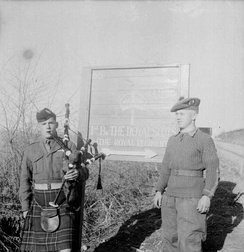 A piper of the Royal Scots in Korea after the Armistice, Christmas 1953
