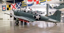 This SBD-2 was one of sixteen dive bombers of VMSB-241 launched from Midway on the morning of 4 June. Holed 219 times in the attack on the carrier Hiryū, it survives today at the National Naval Aviation Museum at Pensacola, Florida.[176]