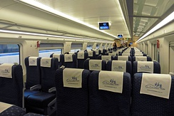 Interior view of a high speed bullet train, manufactured in China