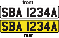 Black on white (front) and black on yellow (rear) number plate scheme in Singapore