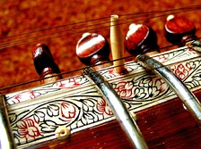 "Close-up of the pen work on a ""Ravi Shankar style"" sitar"