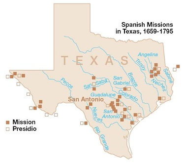 Spanish missions within the boundaries of what is now the state of Texas.