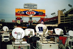 The broadcasting compound at Super Bowl XXXV
