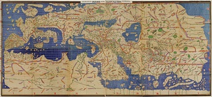 The Tabula Rogeriana, drawn by Al-Idrisi of Sicily in 1154, one of the most advanced ancient world maps. Al-Idrisi also wrote about the diverse Muslim communities found in various lands. Note: the map is here shown upside-down from the original to match current North/Up, South/Down map design