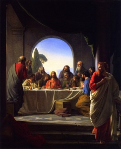 Last Supper, Carl Bloch. In some depictions John the Apostle is placed on the right side of Jesus, some to the left.