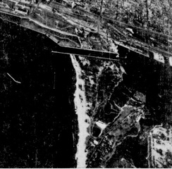 Aerial view of the airport site in 1937, prior to construction. Hanlan's baseball stadium is visible to middle right.