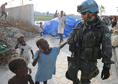 Brazilian Army participating in a UN peacekeeping mission in Haiti.