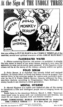 "Flier issued in May 1955 by the Keep America Committee urging readers to ""fight communistic world government"" by opposing public health programs"