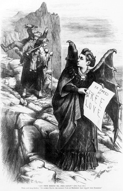 """Get thee behind me, (Mrs.) Satan!"" 1872 caricature by Thomas Nast: Wife, carrying heavy burden of children and drunk husband, admonishing (Mrs.) Satan (Victoria Woodhull), ""I'd rather travel the hardest path of matrimony than follow your footsteps."" Mrs. Satan's sign reads, ""Be saved by free love."""