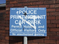 Relic of the former West Yorkshire Metropolitan Police - sign found near former police building in Wakefield city centre (now removed)