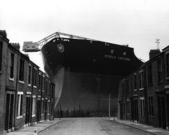 World Unicorn being built by Swan Hunter at the Wallsend shipyard, Tyneside in 1973.