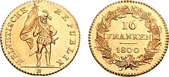 16 Frank coin issued by the Helvetic Republic, this represents the first national coinage of Switzerland.
