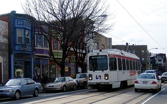 SEPTA's Route 34 trolley line runs through the 4500 block of Baltimore Avenue (US 13) in West Philadelphia