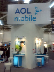 An AOL Mobile sign at GSMA Barcelona 2008