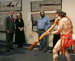 Performance of Aboriginal song and dance in the Australian National Maritime Museum in Sydney with traditional instrument, the Didgeridoo