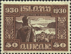 A postage stamp celebrating the thousandth anniversary of the Icelandic parliament—according to a theory associated with the economist David D. Friedman, medieval Icelandic society had some features of anarcho-capitalism; chieftaincies could be bought and sold and were not geographical monopolies; and individuals could voluntarily choose membership in any chieftain's clan